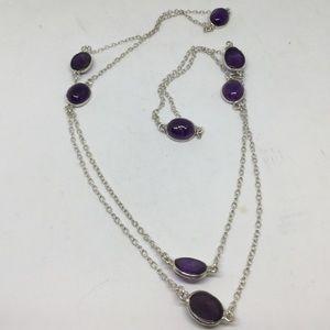 Long Amethyst Silver Necklace